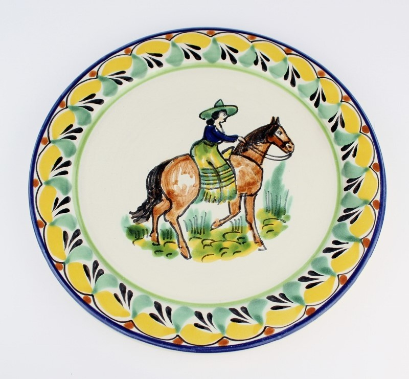 Gorky Gonzalez Majolica Ceramic Medium Cowgirl on Horseback Plate