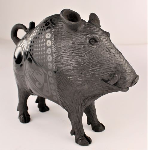 Mata Ortiz Pottery Nicolas Ortiz Black On Black Highly Polished Javelina Wild Boar Effigy