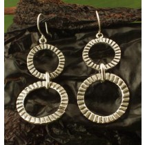 Taxco .925 Sterling Silver Citlal Castillo Argolla Grooved Circles Earrings