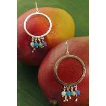 Taxco .925 Sterling Silver Citlal Castillo Open Circle Hoops with Sky Blue