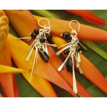 Taxco .925 Sterling Silver Citlal Castillo Palitos with Black Onyx Earrings