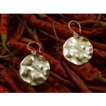 Taxco .925 Sterling Silver Citlal Castillo Large Hammered Buttons Earrings