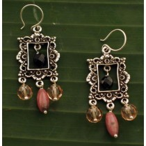 Taxco .925 Sterling Silver Citlal Castillo Picture Frames Pink & Black Earrings