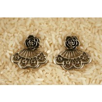 Taxco .925 Sterling Silver Citlal Castillo Spanish Fans Post Earrings