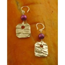 Taxco .925 Sterling Silver Citlal Castillo Purple Charm Earrings