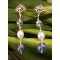 Taxco .925 Sterling Silver Citlal Castillo Soft Blue Pearl and Crystal Post  Earrings
