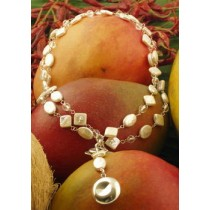 Taxco .925 Sterling Silver Citlal Castillo White Pearl Double Necklace