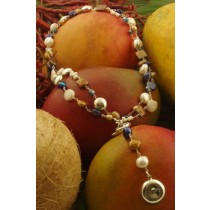 Taxco .925 Sterling Silver Citlal Castillo Blue and Gold Pearl Double Necklace