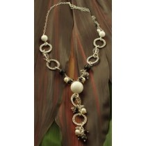 Taxco .925 Sterling Silver Argolla Black and White Necklace