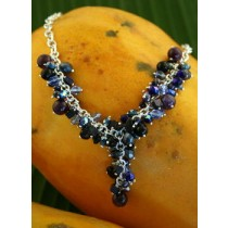"Taxco .925 Sterling Silver Natural Stones Citlal Castillo Blue, Purple & Black Y ""Cluster Necklace"""