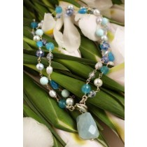 Taxco .925 Sterling Silver And Natural Stone Citlal Castillo Soft Blue Versatile Necklace