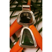 Taxco .925 Sterling Silver Citlal Castillo Picasso Marble and Ruby Zoisite Pendant
