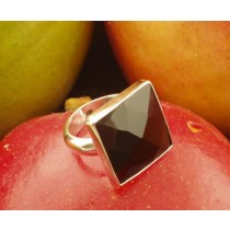 Taxco .925 Sterling Silver Citlal Castillo Black Onyx Faceted Squares Ring
