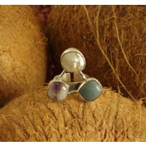 Taxco .925 Sterling Silver Citlal Castillo Chinese Amazonite, White Pearl & Amethyst Ring