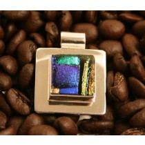 Taxco .925 Sterling Silver Dichroic Glass Square Pendant