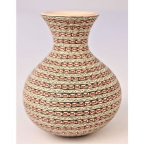 Mata Ortiz Pottery Elvira Bugarini Extra Fine Detail Small Lipped Pot With Fine Detail Band Design
