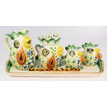 Gorky Gonzalez Majolica Ceramic Rooster Chicken Five Piece Service Set