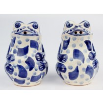 Gorky Gonzalez Majolica Ceramic Blue Frog Salt And Pepper Shakers
