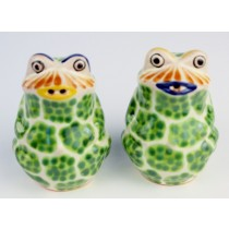 Gorky Gonzalez Majolica Ceramic Green Frog Salt And Pepper Shakers