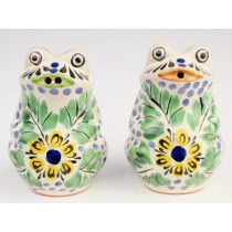 Gorky Gonzalez Majolica Ceramic Green Frog Salt And Pepper Shakers Yellow Flower