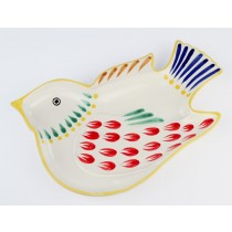 Gorky Gonzalez Majolica Ceramic Dove Bird Appetizer Snack Plate Red Yellow Blue Green Brown