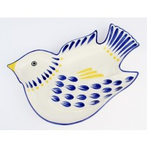 Gorky Gonzalez Majolica Ceramic Dove Bird Appetizer Snack Plate Blue And Yellow