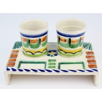 Gorky Gonzalez Majolica Ceramic Tequila Service Set With Shot Glasses