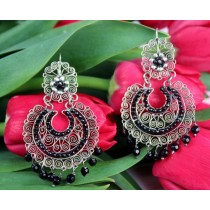 Sterling Silver .925 Earrings Yesenia Salgado Museum Quality Filigree Earrings With Black Agate