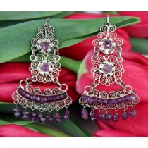 Sterling Silver .925 Earrings Yesenia Salgado Museum Quality Filigree Earrings With Amethyst
