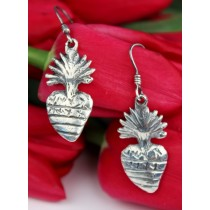 Sterling Silver .925 Earrings Yesenia Salgado Lost Wax Casting Flaming Heart