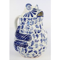 Gorky Gonzalez Majolica Ceramic Large Blue Frog Pitcher