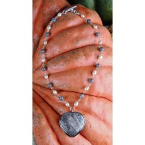 Taxco .925 Sterling Silver Citlal Castillo Labradorite And Light Pink Pearl Necklace With Pink And Grey Jasper Heart Pendant