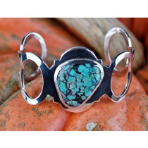 Taxco .925 Sterling Silver Citlal Castillo Turquoise Open Circle Cuff