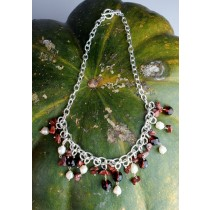 Taxco .925 Sterling Silver Citlal Castillo Poppy Jasper And White Pearl Necklace
