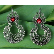 Sterling Silver .925 Earrings Yesenia Salgado Filigree Earrings With Coral