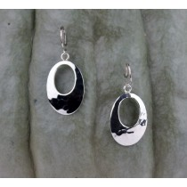 .925 Taxco Sterling Silver Citlal Castillo Hammered Open Ovals Dangling Earrings