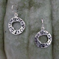 .925 Taxco Sterling Silver Citlal Castillo Perforated Circles Dangling Earrings