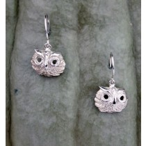 .925 Taxco Sterling Silver Citlal Castillo Dangling Owl Earrings