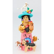 Josefina Aguilar Clay Market Woman With Dogs Pink Dress Poodle