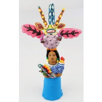 Josefina Aguilar Clay Market Woman Alebrije Vendor Alien Oaxacan Wood Carvings Rooster Iguana