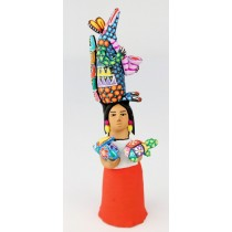 Josefina Aguilar Clay Market Woman Alebrije Vendor Armadillo Oaxacan Wood Carvings Rabbit Turtle