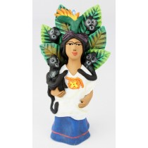 Leticia Garcia Aguilar Clay Frida With Monkeys Pottery Figurine Blue Dress