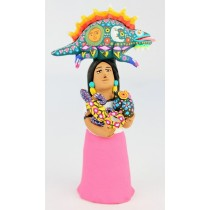 Josefina Aguilar Clay Market Woman Alebrije Vendor Gila Monster Iguana Owl Oaxacan Wood Carvings