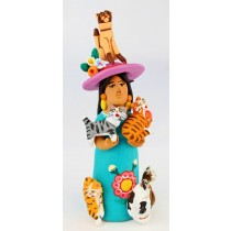 Josefina Aguilar Clay Market Woman With Dogs Green Dress