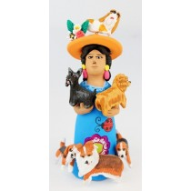 Josefina Aguilar Clay Market Woman With Dogs Blue Dress