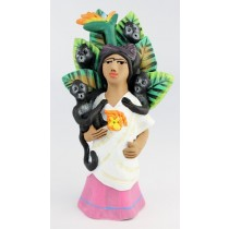 Leticia Garcia Aguilar Clay Frida With Monkeys Pottery Figurine Pink Dress