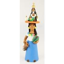 Leticia Garcia Aguilar Clay Market Woman With Virgen De Soledad Balanced On Her Head Blue Dress Pottery Watermelon