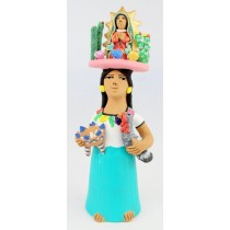 Leticia Garcia Aguilar Clay Market Woman With Virgen De Guadalupe And Cactus Balanced On Her Head Green Dress Pottery Turkey