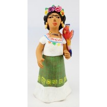 Leticia Garcia Aguilar Clay Frida Floral Crown Macaw Bird White Huipil Pottery Figurine