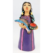 Fran Garcia Vasquez Tehuana Woman Purple Traditional Dress Holding Fish